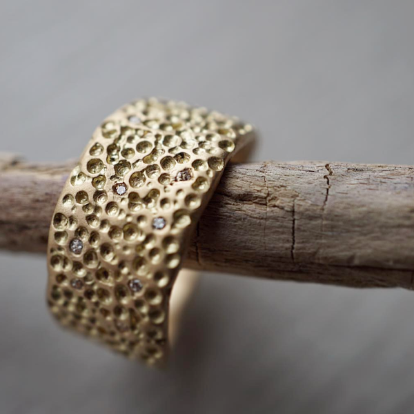 Wide Pock Diamond & Gold Band | Magpie Jewellery