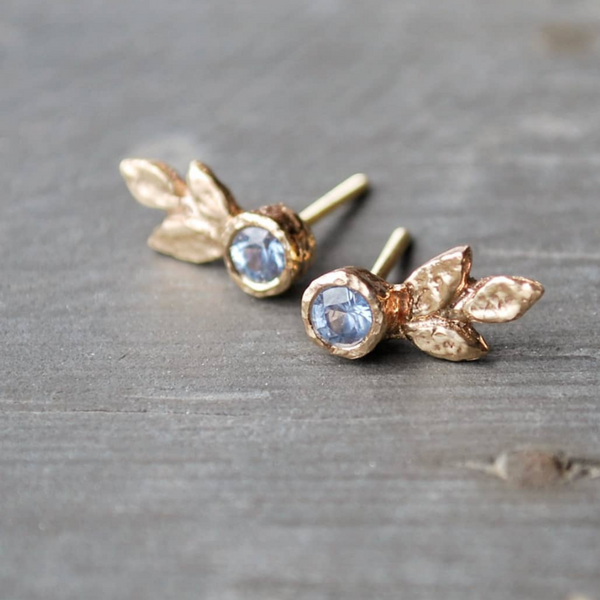 Triple Leaf Gold Earrings with Blue Sapphires