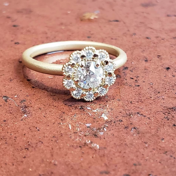 The Mini Mosaic Round Ring Yellow Gold | Magpie Jewellery