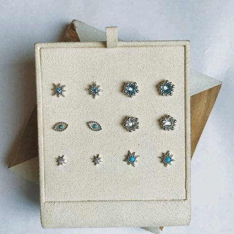 Dew Drop Evil Eye Studs - Turquoise & Silver