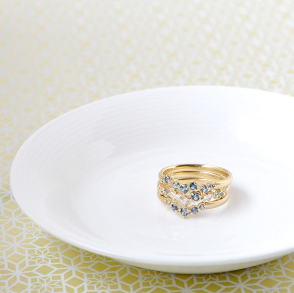 Cascade Baguette and Round Diamond and Blue Sapphire Band