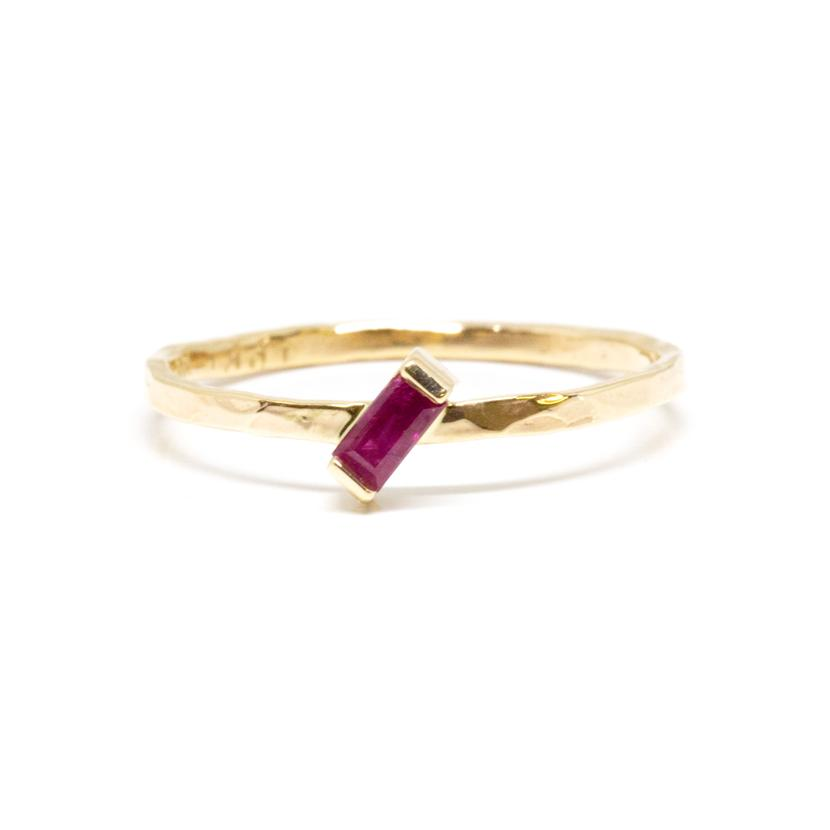 Slanted Baguette Ruby Ring