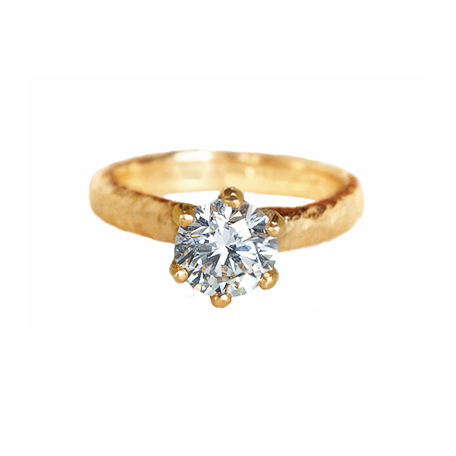 Six Prong Seashore Solitaire Gold & Diamond Ring
