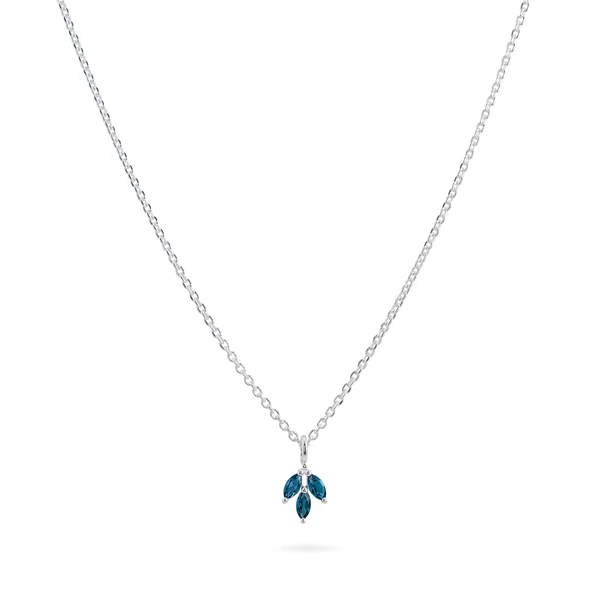London Blue Topaz Triple Marquise Necklace