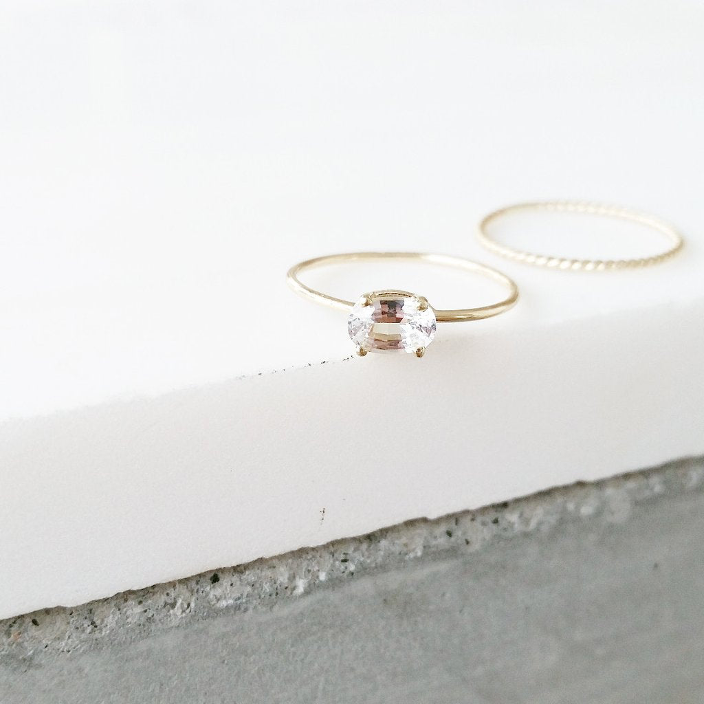 Oval White Sapphire Ring