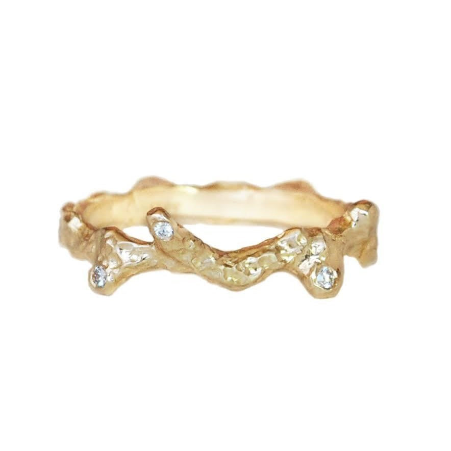 Stackable Twig Gold Band with Diamonds