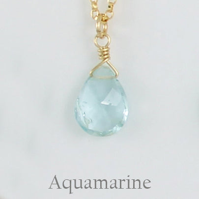 Gold Fill Gemstone Solo Necklace | Magpie Jewellery | Yellow Gold | Aquamarine, Faceted | Labelled