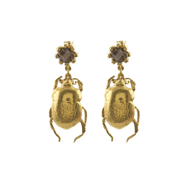 Dor Beetle & Smoky Quartz Drop Earrings