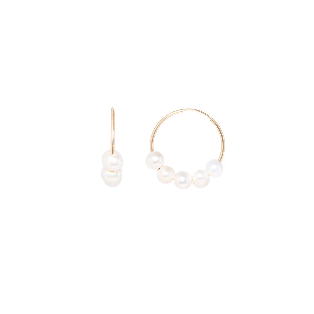 MINI CANNES HOOPS | PEARL | Magpie Jewellery