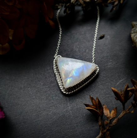 Asymmetrical Triangular Moonstone Necklace