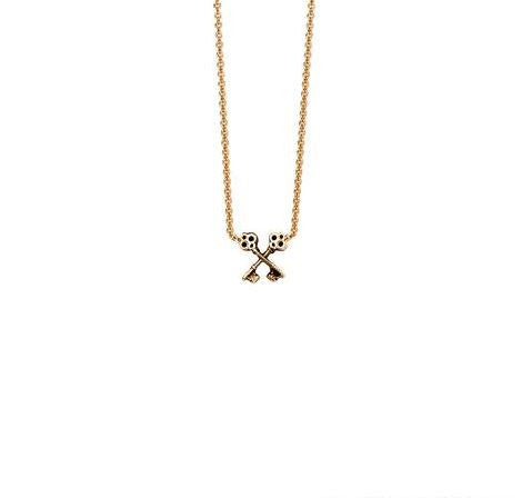 CROSSED KEYS 14K GOLD SYMBOL CHARM NECKLACE
