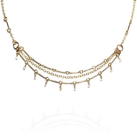 Crystalline Bamboo Layered Necklace