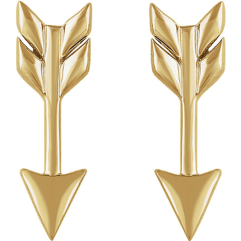 Arrow Studs - Yellow Gold