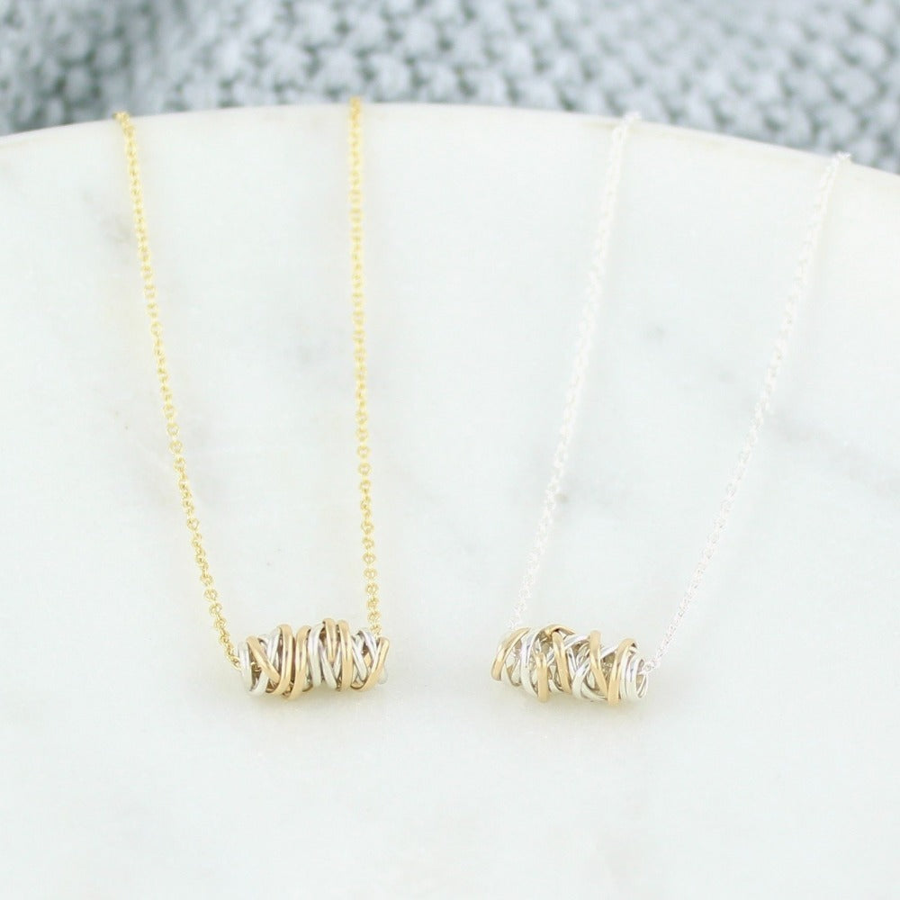 Twist Necklace - Mini | Magpie Jewellery | Mixed Metals | Yellow Gold Chain | Silver Chain | Listed Left-to-Right