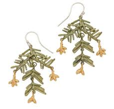 Petite Pine Bronze Earrings