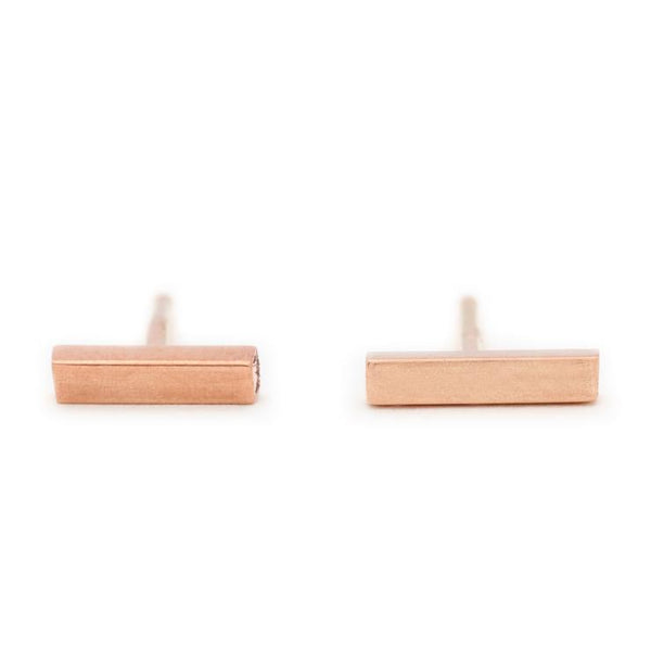 18K Rose Gold Stick Studs