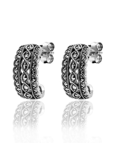 Vintage Inspired Marcasite Hoop Earrings