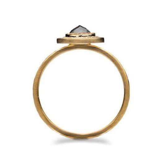 Edged Halo Solitaire Diamond & Gold Engagement Ring