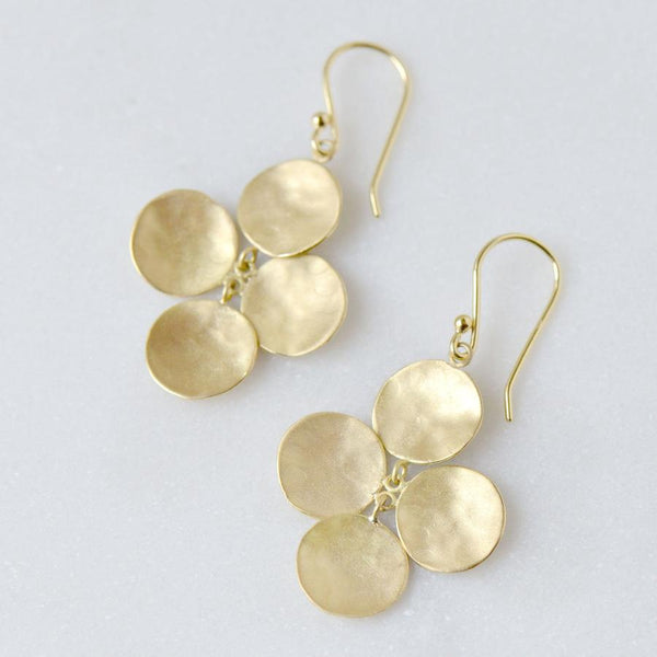 Concave Disc Charm Hook Earrings Yellow Gold | Magpie Jewellery