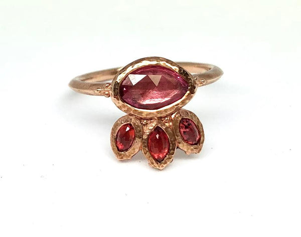 10k Rose Arrya Ring with Pink & Red Sapphires | Magpie Jewellery