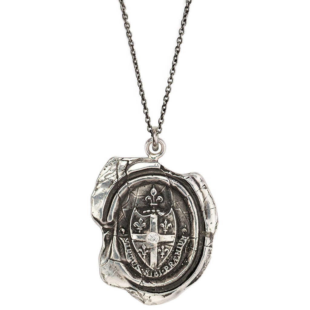 Five Fleur de Lys Diamond Set Talisman Silver | Magpie Jewellery