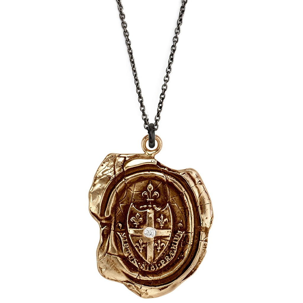 Five Fleur de Lys Diamond Set Talisman Bronze | Magpie Jewellery