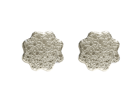 Large Moon Textured Flower Studs