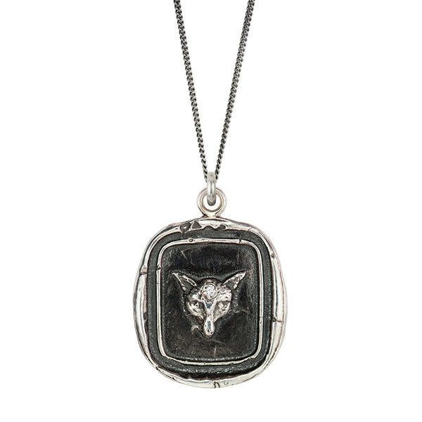 Fox Diamond Set Talisman Silver | Magpie Jewellery
