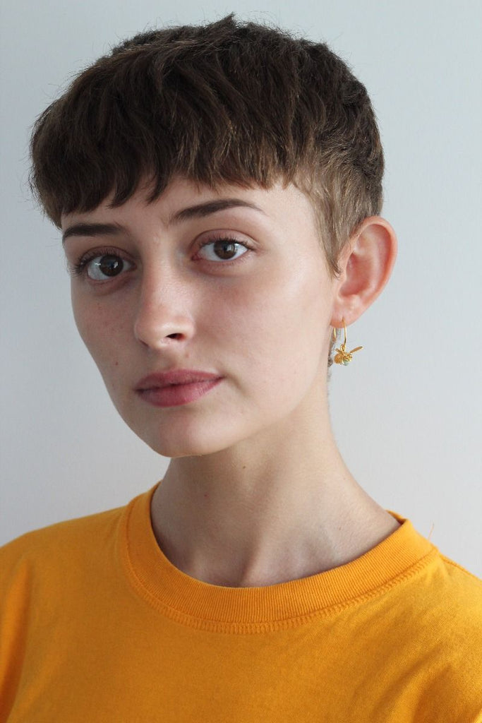Flying Bee with Pearl Hoop Earrings | Magpie Jewellery