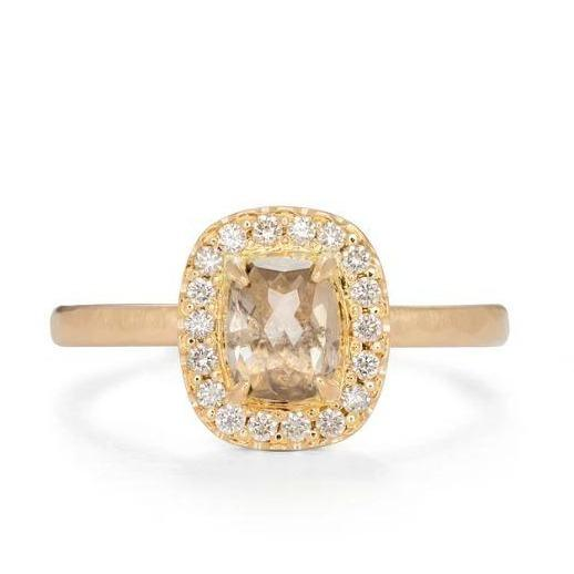 Cushion Claw Halo Diamond & Gold Engagement Ring