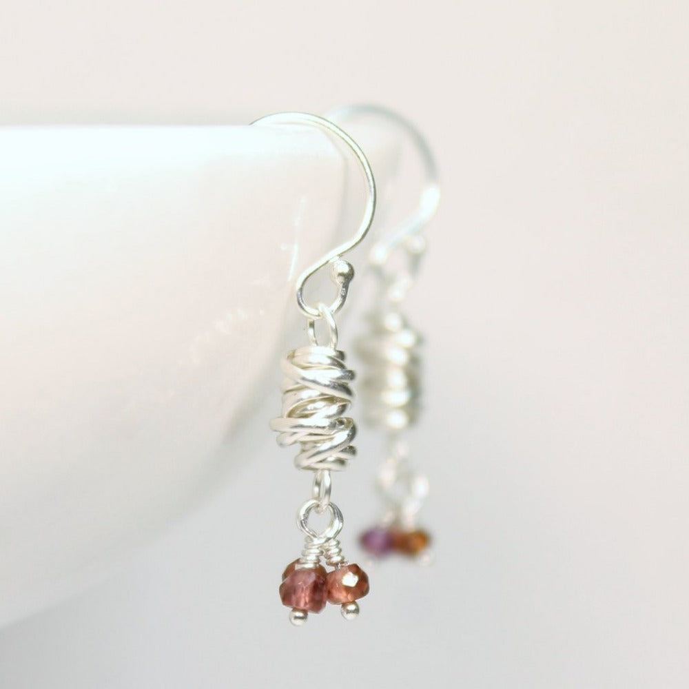 Silver Micro-Twist and Gemstone Earring | Magpie Jewellery | Garnet