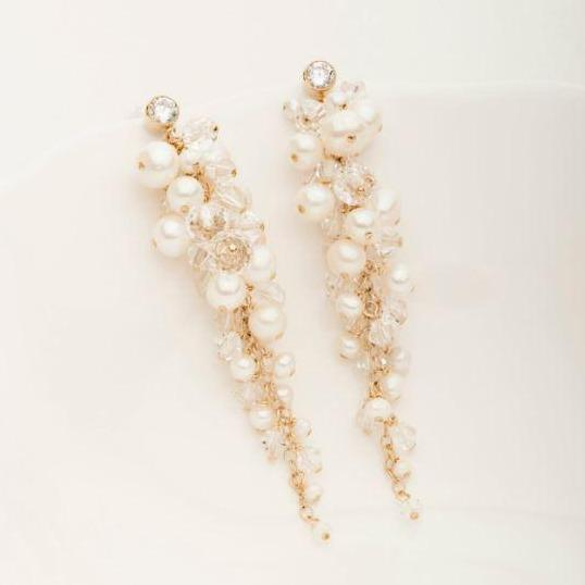 Large Cha Cha Earring White Pearl and Yellow Goldfill | Magpie Jewellery