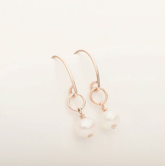 Freefall Pearl Earring Rose Gold Fill | Magpie Jewellery