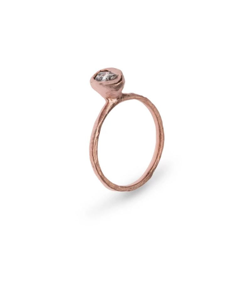 14k Rose Gold Raw Diamond Ring