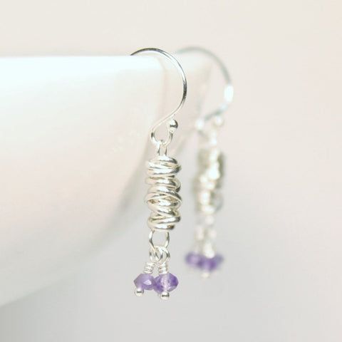 Silver Micro-twist and Gemstone Earring