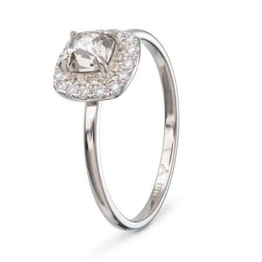 Square Claw Halo Diamond & Gold Engagement Ring