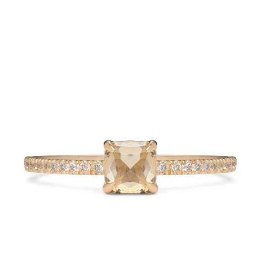 Square Claw Solitaire Diamond & Gold Engagement Ring | Magpie Jewellery