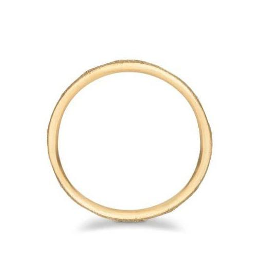 Arena Wide Organic Flat Gold Wedding Band