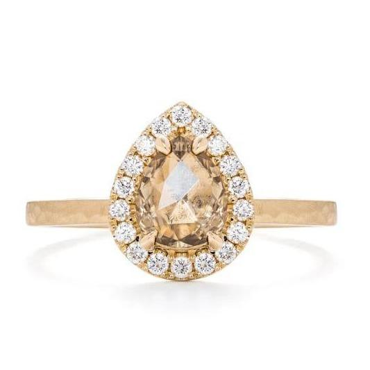 Drop Halo Solitaire Diamond & Gold Engagement Ring