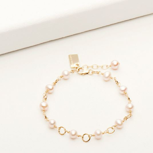 Freefall Bracelet Goldfill with White Pearl | Magpie Jewellery