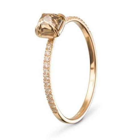 Square Claw Solitaire Diamond & Gold Engagement Ring