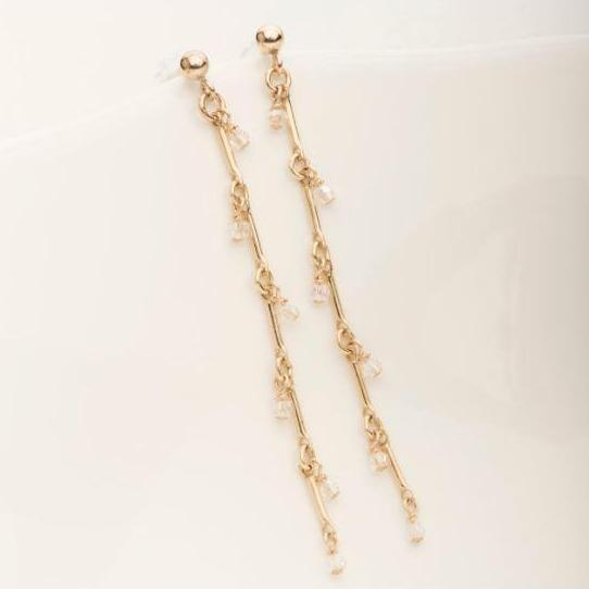 Crystalline Bamboo Earring Gold Fill | Magpie Jewellery