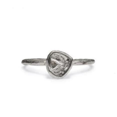 Raw 14k White Gold ring