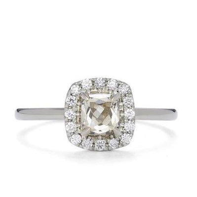 Square Claw Halo Diamond & Gold Engagement Ring | Magpie Jewellery