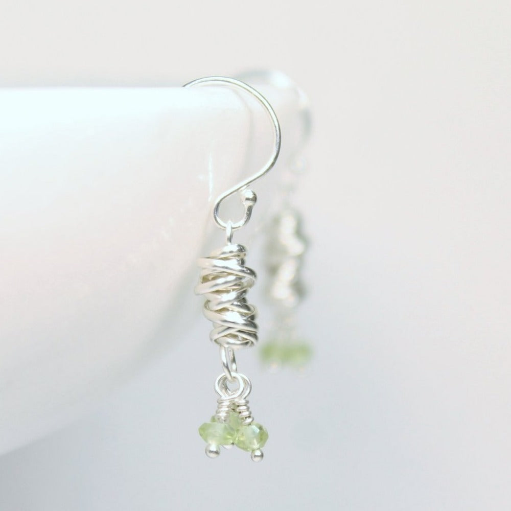 Silver Micro-Twist and Gemstone Earring | Magpie Jewellery | Peridot