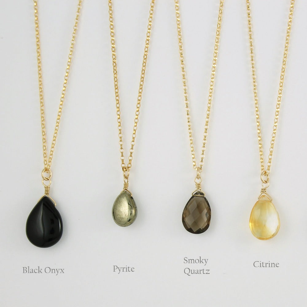Gold Fill Gemstone Solo Necklace | Magpie Jewellery | Yellow Gold | Black Onyx | Pyrite | Smoky Quartz, Faceted | Citrine, Faceted | Stones Listed Left-to-Right | Labelled