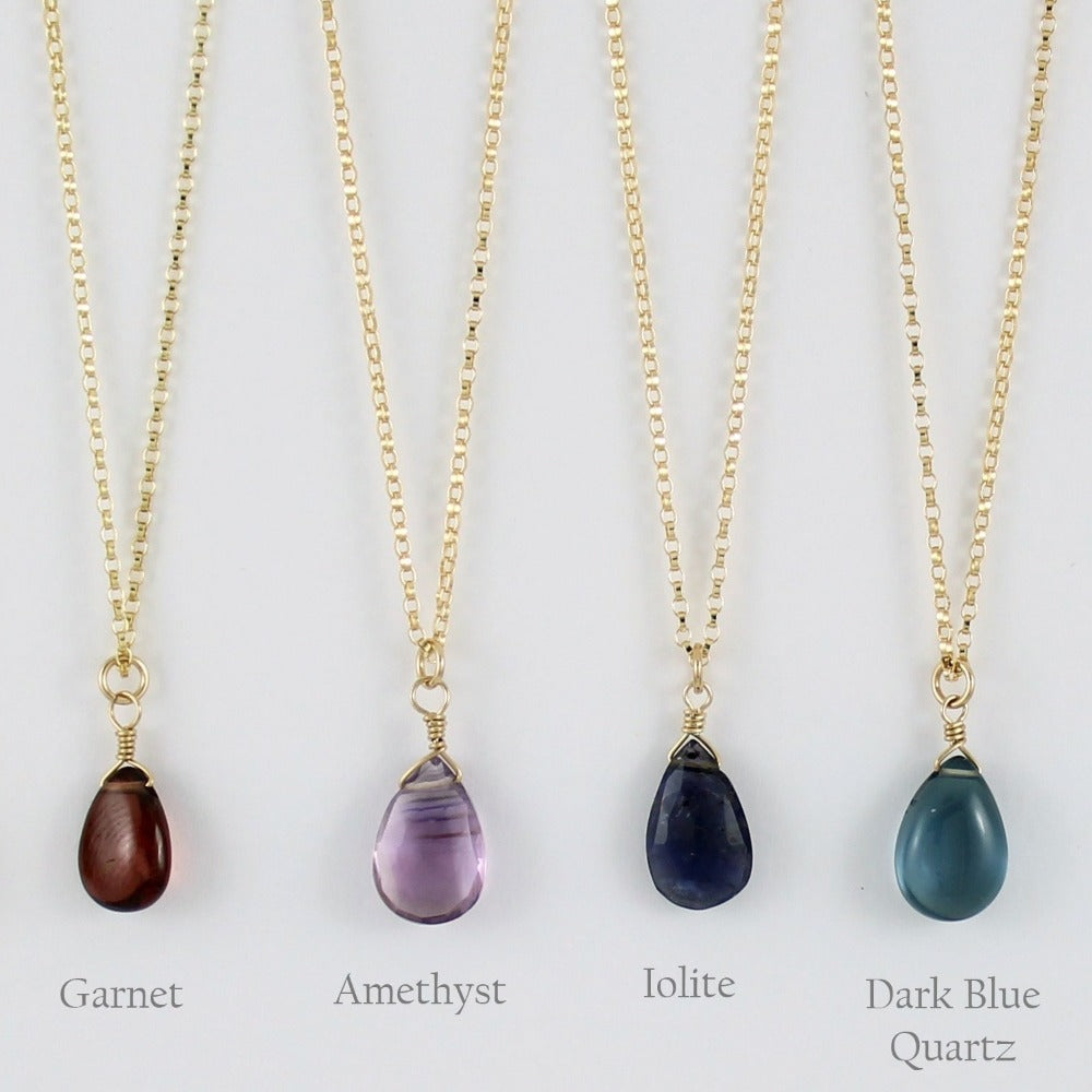 Gold Fill Gemstone Solo Necklace | Magpie Jewellery | Yellow Gold | Garnet | Amethyst, Faceted | Iolite, Faceted | Dark Blue Quartz | Stones Listed Left-to-Right | Labelled