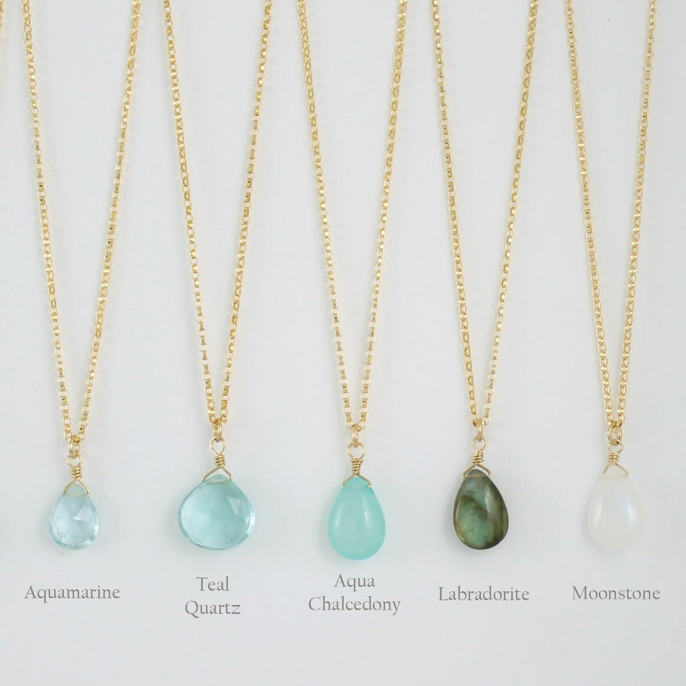 Gold Fill Gemstone Solo Necklace | Magpie Jewellery | Yellow Gold | Aquamarine, Faceted | Teal Quartz, Faceted | Aqua Chalcedony | Labradorite | Moonstone | Stones Listed Left-to-Right | Labelled