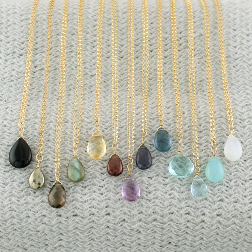 Gold Fill Gemstone Solo Necklace | Magpie Jewellery | Yellow Gold | Black Onyx | Pyrite | Smoky Quartz, Faceted | Labradorite | Citrine, Faceted | Garnet | Amethyst, Faceted | Iolite, Faceted | Dark Blue Quartz | Teal Quartz, Faceted | Aquamarine, Faceted | Aqua Chalcedony | Moonstone | Stones Listed Left-to-Right