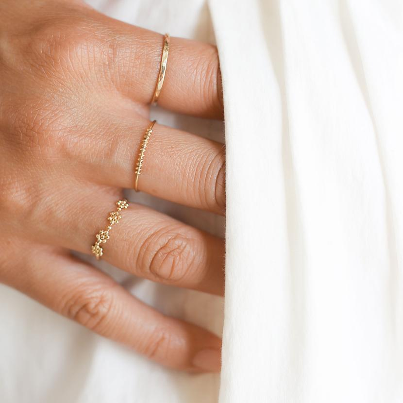 Slim Hammered Gold Band